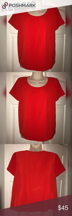 *NWOT* KENSIE SHORT SLEEVE CREW NECK TEXTURED TOP *NWOT* This Kensie textured women's top in true red is perfect for a day at the office or any just because occasion! Match with a pair of black leggings & flats for a cute completed look ❤️ this top can really pair well with anything! Brand new without the tags, never worn & PERFECTLY pressed. As shown in pictures, pristine condition 🙂 please feel free to ask any questions! Kensie Tops