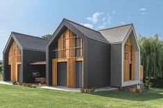 This time We would like to show you a cool and outstanding idea for a Modern Bungalow Design. You can adapt this idea for your tiny house . Architecture Durable, Architecture Résidentielle, Gable House, Design Exterior, Timber Cladding, Roof Styles, Modern Bungalow, Modern Barn, Architectural Elements