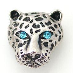 1 PC 18MM Jaguar Cat Blue Rhinestone Silver Candy Snap Charm kb8823 CC1464