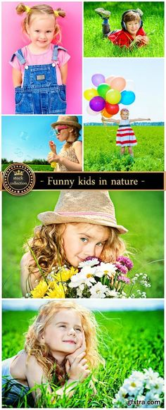 Funny kids in nature, children - stock photos