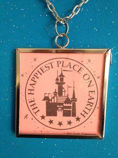 Vintage Disneyland Ticket Pendant Necklace