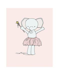 11x14 Elephant Ballerina Princess Elephant by SweetMelodyDesigns, $20.00 Elephant Nursery Art, Elephant Love, Cute Animal Drawings, Cute Drawings, Art Wall Kids, Art For Kids, Art Children, Pink Elephants On Parade, Princess Nursery
