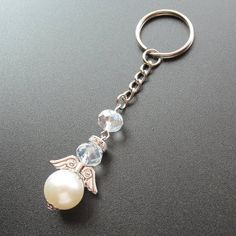 Baptism Favor 12 Pcs Pearl Crystal Key Ring with Organza Christening Favors, Baptism Favors, Baptism Centerpieces, Beaded Angels, Chunky Beads, Beaded Ornaments, Favor Bags, Key Rings, Crystal Beads