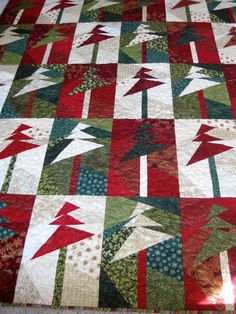 Lap Quilt Wall Hanging  Modern Christmas Trees by SallyManke,
