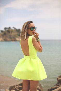 neon yellow dressed beach babe
