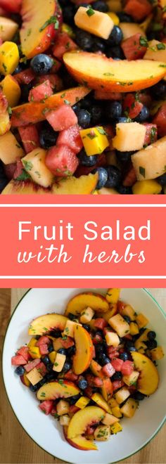 This Peach Fruit Salad with Herbs is loaded with flavor, but no extra sugar! Some fresh lime zest combines with basil, mint, and tarragon to make a fruit salad unlike any other!
