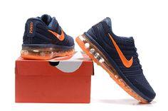 Newest Nike Air Max 2017 Dark Blue Orange for Men Cheap - $69.89