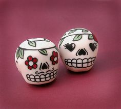 Gentleman and Lady Sugar Skull Clay Decoration Duo by natamon, $20.00