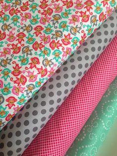 Urban Zoologie MINIS Monkey fabric bundle by Ann Kelle for Robert Kaufman Fabrics- 1/2 Yard Bundle- 4 total