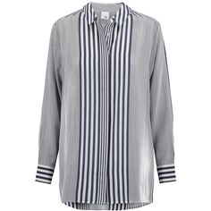 Iris and Ink Thea striped silk boyfriend shirt (3736145 BYR) ❤ liked on Polyvore featuring tops, navy, navy shirt, boyfriend shirt, striped shirt, stripe shirt and tailored shirts