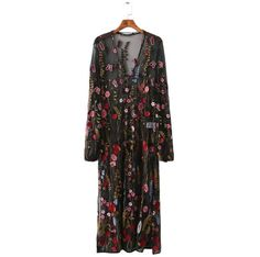 Women sexy floral embroidery mesh maxi dress transparent long dress tie neck long sleeve Vestidos casual loose dresses QZ2716