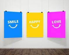 Smile Happy Love Wall Decor 3 Printable Wall art by MokileArt