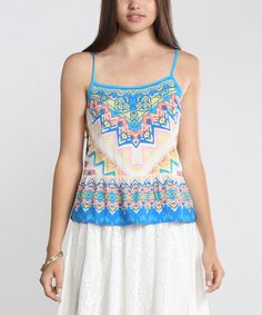 This Blue & White Geometric Camisole is perfect! #zulilyfinds