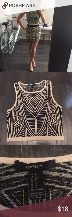 Forever21 Knit Tank Used once in excellent condition. Size S. Nude and black coloring. 82% rayon 16% polyester 2% spandex. Great alternative to the bandage type body con with the same look, thick material. It's beautiful. This is for only the top!!!! Forever 21 Tops