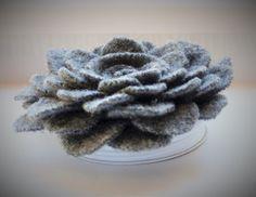 Grey felt flower pin brooch by WoolenBlooms on Etsy