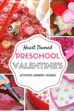 Heart themed preschool Valentines Day activities for science, sensory play, art, and math. Hands on play Valentine activities for toddler, preschool, and kindergarten age kids. Valentines Day STEM ideas, science experiments, and messy play.
