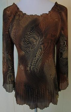 Jaipur Women XL Pleated Crinkle Brown Black 3/4 Sleeve Top #Jaipur #Tunic