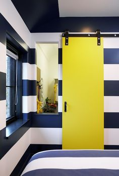 Leo Designs Chicago – boy's rooms – striped walls, striped bedroom walls, horizo… - Modern Yellow Doors, Bedroom Paint Colors, Striped Bedroom, Yellow Bedroom, Painted Closet, Bedroom Colors, Striped Walls, Yellow Bathrooms, Yellow Boys Room