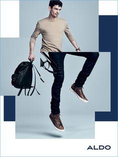 Arthur Gosse sports leather sneakers for Aldo's fall-winter 2016 men's campaign.