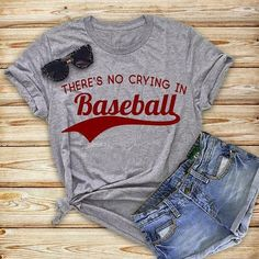 Baseball has worldwide appeal to people of all ages. There are many prospective baseball greats who just need a little advice. Fashion Slogans, No Crying In Baseball, Softball Shirts, Sports Shirts, Wrestling Mom Shirts, Rc Autos, Polyester Material, Nfl Sports, Mom Shirts