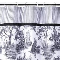 Toile shower curtain.  Very nice around the clawfoot tub in my black and white bathroom.  Now, if only I could afford to have the tile floor redone!