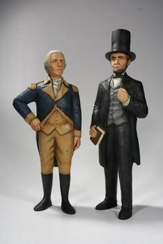 Abe and George, original woodcarvings by Ed Pribyl.  I think he is an amazing wood carver and a nice guy.