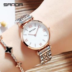 SANDA New Fashion Women Watches Stainless Steel Bracelet Quartz Wristwatch Waterproof Ladies Watch Elegant Clock montres femme From Touchy Style Outfit Accessories. Cheap Watches, Watches For Men, Wrist Watches, Expensive Gifts, Skeleton Watches, Swiss Army Watches, Rose Gold Watches, Fossil Watches, Rose Gold