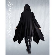 DARKNESS Hooded Jacket Cloak Thumbhole Sleeves Maxi Cardigan   Night is your day, moonlight your sunshine in our DARKNESS hooded cloak. Our exclusive design has all the drama of a cloak with the ease of wear of a jacket! Features an oversized hood for that mysterious fairytale look and extra long sleeves with cozy thumbholes