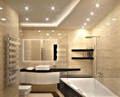 salle de bain travertin en beige, mobilier en bois noir et spots encastrés