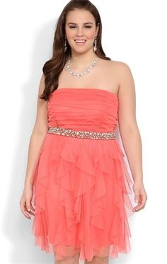Plus Size Strapless Short Prom Dress with Stone Waist