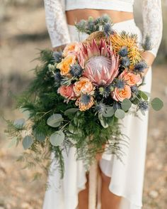 "Green Wedding Shoes / Jen on Instagram: ""Love a #protea in a #bouquet Gorge bouquet by @birchandbone as seen #onGWS today // : @emilywrenphoto"""