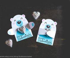 Polar Bear Classroom Candy Holder valentines cute animal hug individual candy valentine card bear woodland Valentine's day chocolate holders