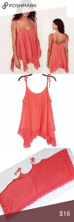 Lauren Conrad Handkerchief Crochet Tank Tunic NWT BRAND NEW WITH TAG:    Take your summertime style to the next level with this women's LC Lauren Conrad tank top, featuring a trendy handkerchief hem.   MSRP. $40    PRODUCT FEATURES  Handkerchief hem with crochet trim   Scooopneck with beaded details   Tie spaghetti straps     Fabric & Care   55% Rayon, 45% polyester   Machine wash    Style is very wide so measurements are too hard to take and depends on how loose you will like the style to…