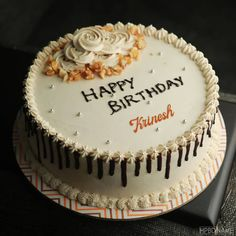 Caramel Birthday Cake Images With Name Online Write Name On Cake, Birthday Cake Write Name, Birthday Msgs, Create Birthday Card, Birthday Cake Writing, Birthday Cake For Him, Fruit Birthday Cake, Cake Name, Happy Birthday Appa