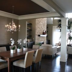 Love the dark ceiling in the dining room. Modern Spaces Candice Olson Bathroom Lighting Design, Pictures, Remodel, Decor and Ideas Kitchen Open Concept, Dark Ceiling, Ceiling Color, Ceiling Design, Accent Ceiling, Colored Ceiling, Modern Ceiling, Ceiling Lighting, Strip Lighting