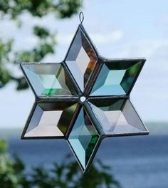 Beveled Glass Star  Champagne and Green with by SNLCreations