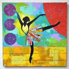 Items similar to Black Ballerina Dancer Broadway impasto ORIGINAL PAINTING art of dance  by Elizabeth Rosen on Etsy