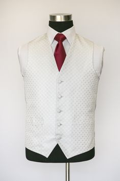 Ivory Ritz Waistcoat with Dark Red Tie Gentleman Mode, Gentleman Style, Wedding Waistcoats, Dark Red, Tweed, Vest, Mens Fashion, Suits, Jackets