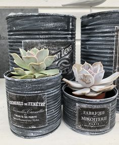 Tin Can Crafts, Jar Crafts, Diy And Crafts, Shabby Chic Garden Decor, Shabby Chic Kitchen Decor, Recycle Cans, Diy Cans, E Craft, Altered Tins