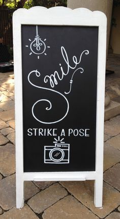 """Chalkboard easel - great for a """"photo station"""" at showers & parties"""