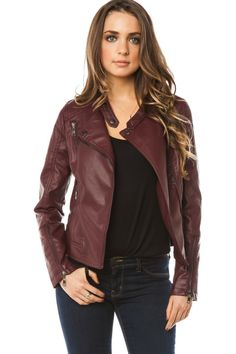 ShopSosie Style : Alec Moto Jacket in Burgudy