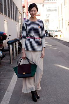 stripes, maxi skirt and pop color.