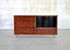 Mid-Century Danish Modern Drexel Credenza Buffet Sideboard Bar 1950s Vintage Walnut Dresser Retro Atomic 1960s Paul McCobb Style on Etsy, $795.00