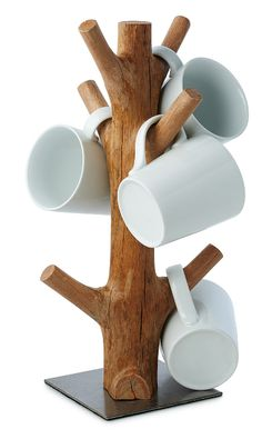 This organic mug tree is made from reclaimed section of mangosteen wood. When th., This organic mug tree is made from reclaimed section of mangosteen wood. When the mangosteen trees of vast Southeast Asian plantations cease to produc. Log Furniture, Reclaimed Wood Furniture, Antique Furniture, Furniture Ideas, Bamboo Crafts, Wood Crafts, Diy Wood Projects, Woodworking Projects, Woodworking Chisels