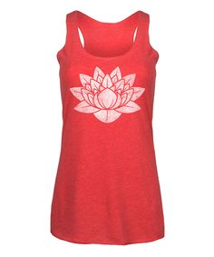 Take a look at this Red Distressed Lotus Flower Racerback Tank today!