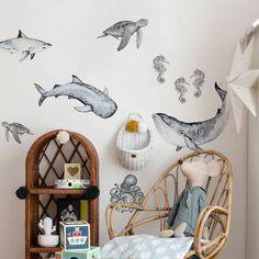 Dekornik Wandsticker Ozean Tiere bei kinder räume Baby Boy Rooms, Baby Bedroom, Kids Bedroom, Nursery Room Decor, Nursery Themes, Sibling Room, Whale Nursery, Kids Decor, Kidsroom