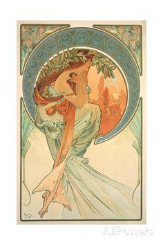 The Arts: Poetry, 1898 Gicléedruk van Alphonse Marie Mucha bij AllPosters.nl