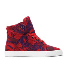 SUPRA WMNS SKYTOP | PARTY CAMO RED/GRAPE - WHITE | Official SUPRA Footwear Site
