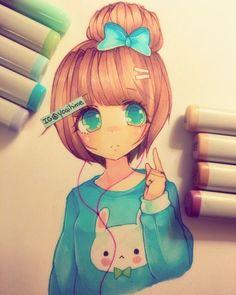 Chino drawing with copic pens Copic Marker Drawings, Copic Markers, Copic Art, Copic Sketch, Pretty Drawings, Beautiful Drawings, Pixar, Kawaii Art, People Art