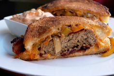 Creole Patty Melt with Caramelized Peppers, Onions, Bacon and Homemade Thousand Island Sauce - Creole Contessa
